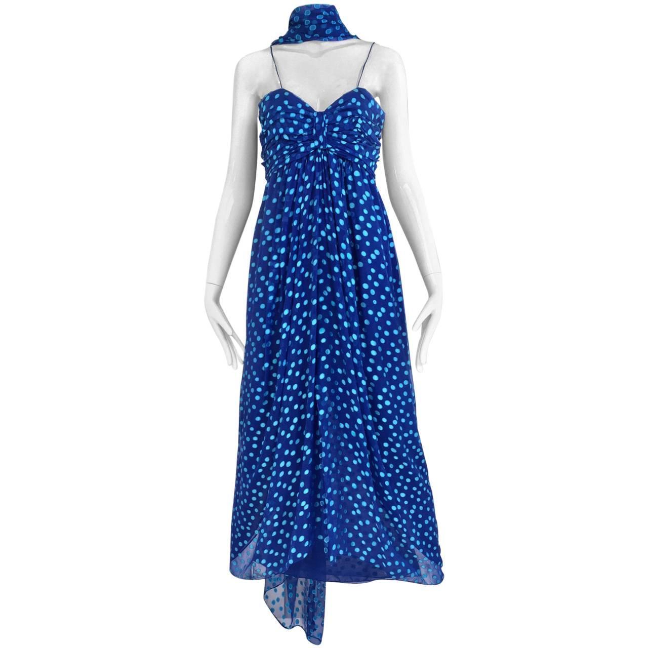 1970s Oscar De La Renta Blue Silk Polkadot Dress with Shawl