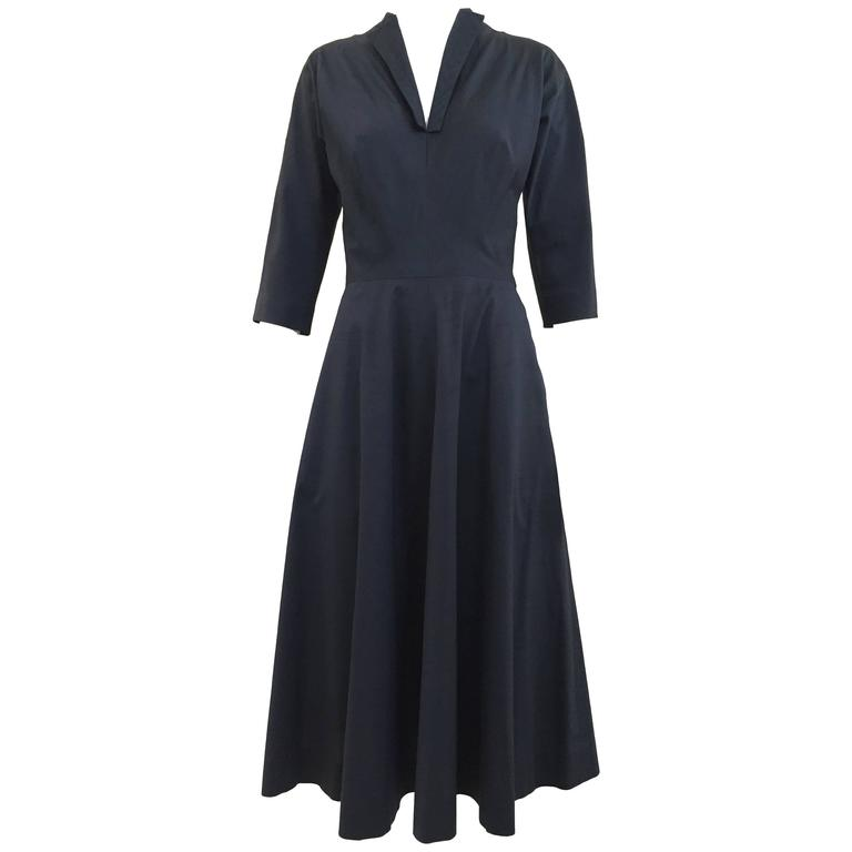 1950s Claire Mccardell Black Silk Cocktail 50s dress