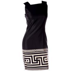 Gianni Versace Greek Key Print Shift Dress