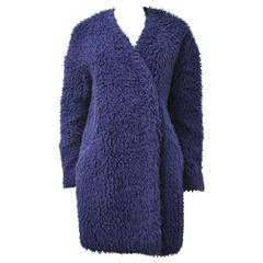 Kenzo Blue Collarless Faux Fur Coat with Drop Shoulders