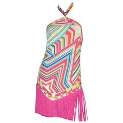 Stunning Emilio Pucci Signature Print Fringe Mini Dress