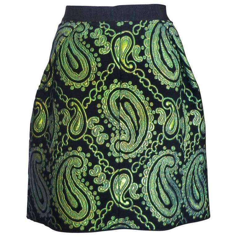 Marc Jacobs Black and Green Paisley Metallic Jacquard Skirt (10US)