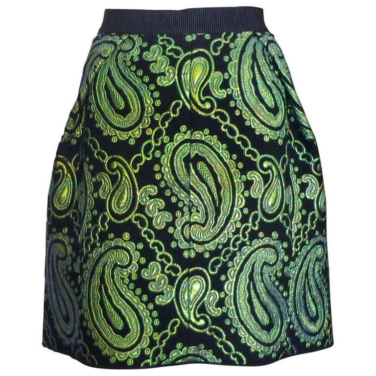 Marc Jacobs Black and Green Paisley Metallic Jacquard Skirt (10US) For Sale