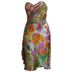 1980s Diane Freis Strapless Silk Embellished Dress (6 US)