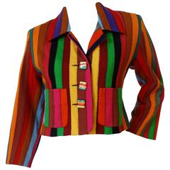 "1990s Todd Oldham ""Rainbow"" Striped Cropped Jacket"