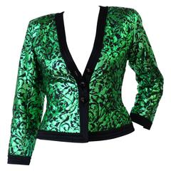 1980s Saint Laurent Metallic Green Floral Print Jacket
