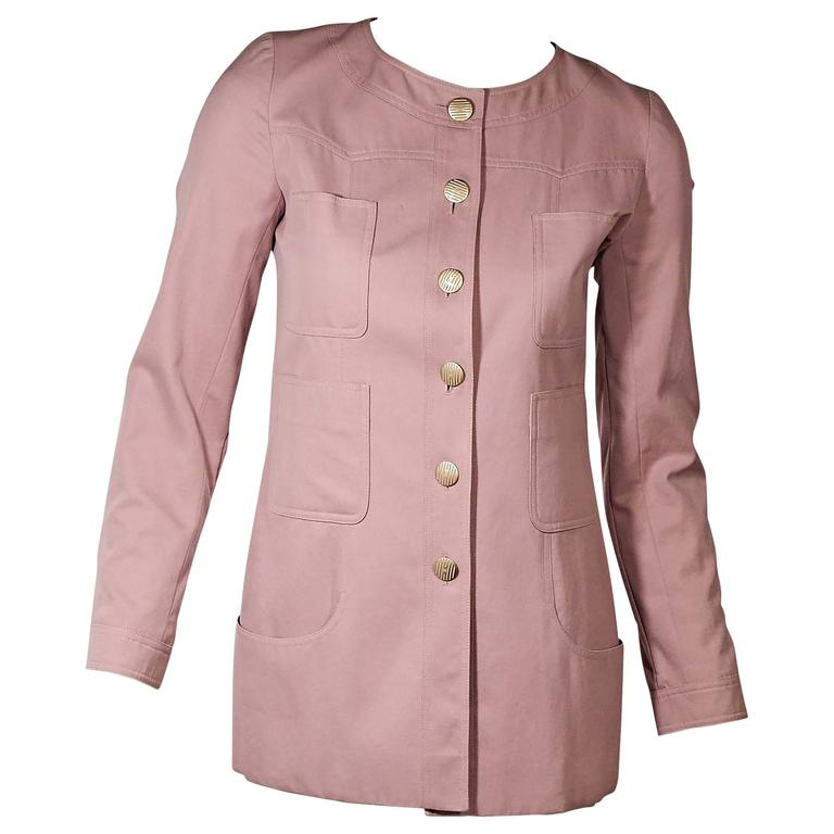 Pink Chanel Button-Front Jacket