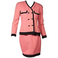 Bright Pink Vintage Chanel Skirt Suit Set