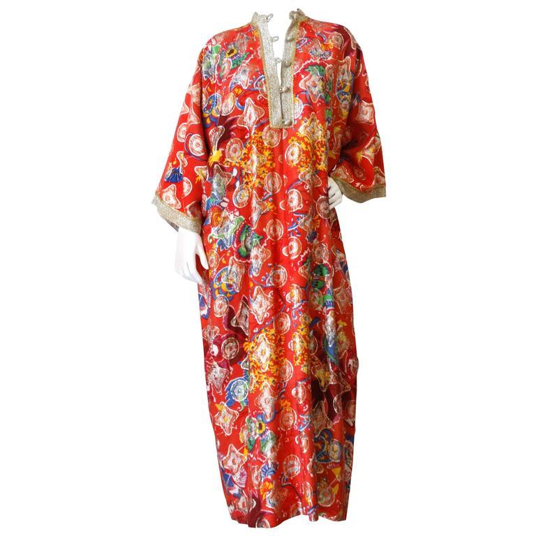 Rare 1970s Jay Morley for Fern Violette Metallic Caftan Dress