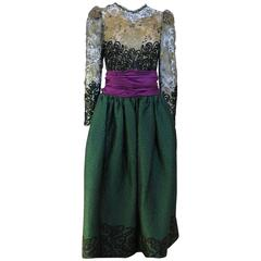 1990's Oscar de la Renta Green Gold and Purple Lace Gown