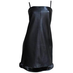 1990s Gianni Versace Leather Slip Dress with Mink Trim