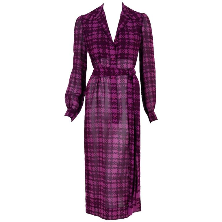 1969 Christian Dior Haute-Couture Purple Houndstooth Silk-Chiffon Belted Dress