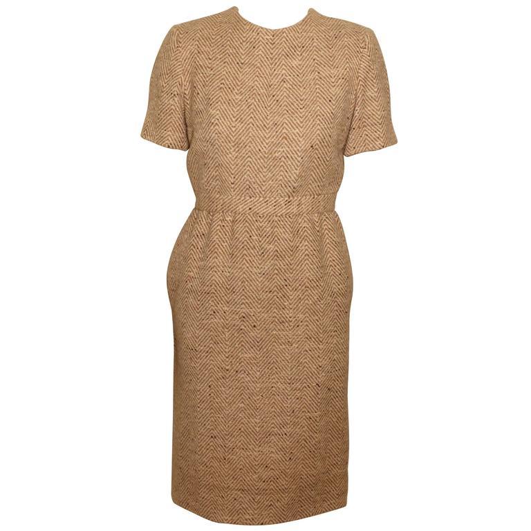 Vintage Pauline Trigere Wool Tweed Dress