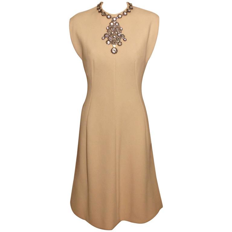 Vintage Pauline Trigere Jeweled Front Cocktail Dress For Sale