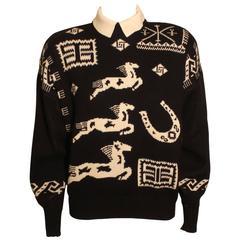 Vintage1980s Byblos Western Print Sweater