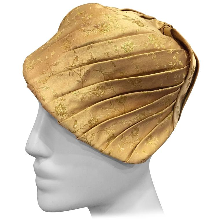 1950s Tatiana Gold Silk Lamé Brocade Pleated Asymmetrical Cocktail Hat For Sale