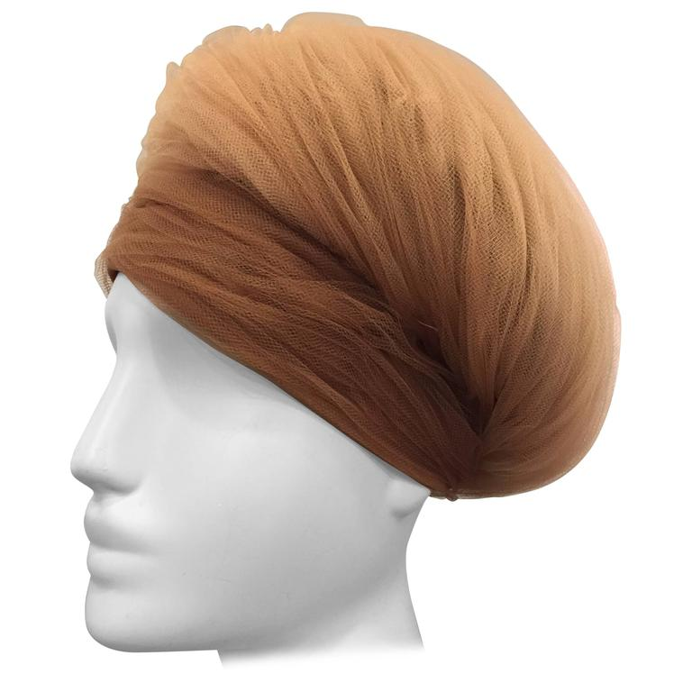 1960s D. Charles Beige and Camel Tulle Wrapped Turban-Style Hat For Sale