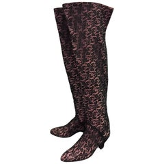 """1980s Maud Frizon 22"""" High Black Lace Over Pink  Leather Kitten Heel Boot"""