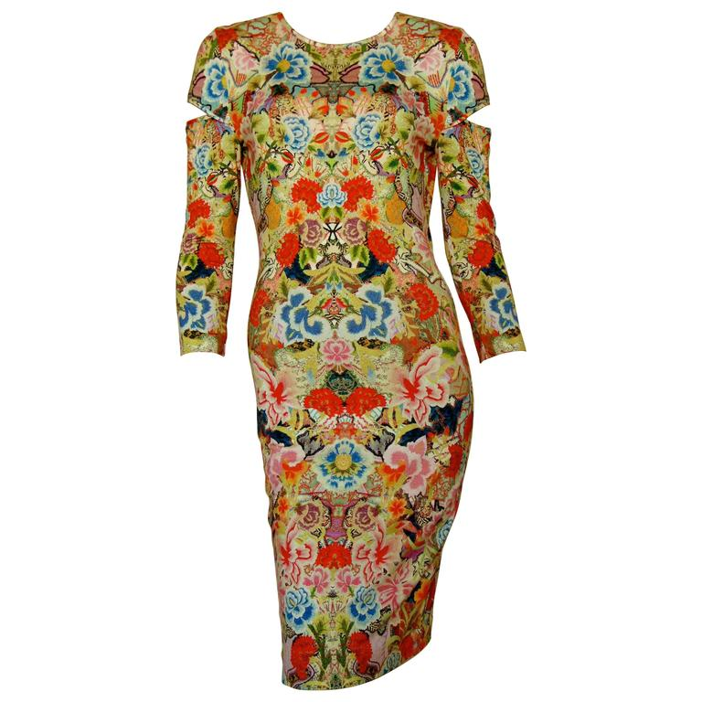 Alexander McQueen Dress Floral Patchwork Slash Sleeve Bodycon Sz M Pre SS14 For Sale