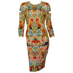 Alexander McQueen Dress Floral Patchwork Slash Sleeve Bodycon Sz M Pre SS14