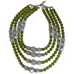 Francoise Montague Four Row Green Glass Necklace