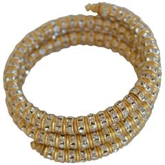 Francoise Montague Gold and Crystal Mabrouk Wrap Bracelet