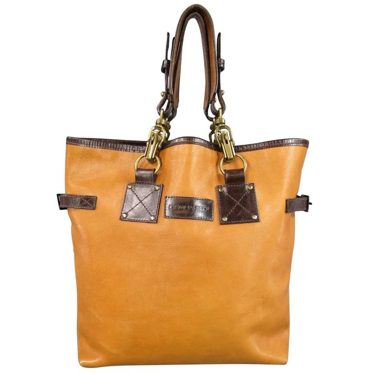 DSQUARED2 Tote Bag - Tan & Brown Leather Double Perforated Strap
