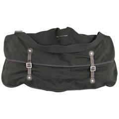 MAISON MARTIN MARGIELA Black Cotton Black Leather Trim Double Messenger Bag