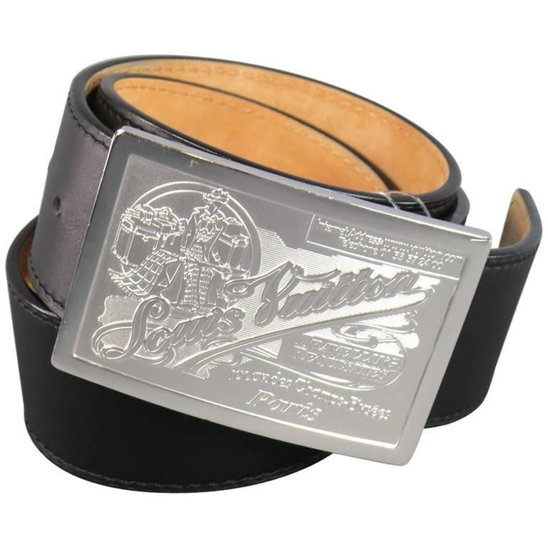66208a47377e LOUIS VUITTON Size 34 Black Leather Silver Travelling Requisites Buckle Belt  For Sale