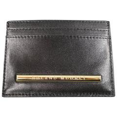 New ROLAND MOURET Card Case - Black Leather Gold Engraved Metal