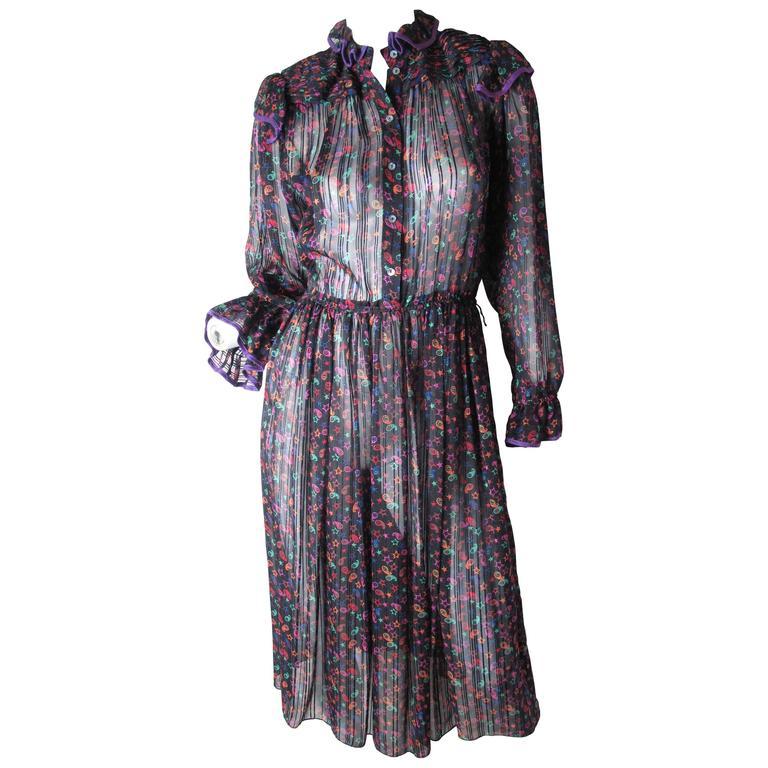 Zandra Rhodes Star Printed Silk Dress For Sale