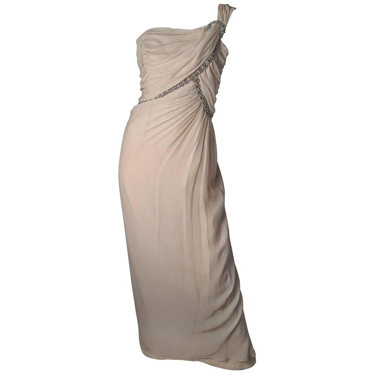 Emma Domb One Shoulder Chiffon Gown  For Sale