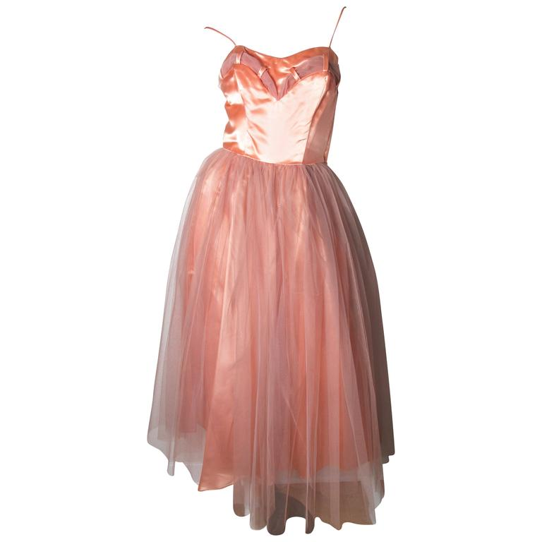 1950s Tulle and Satin Dress with Jacket 1