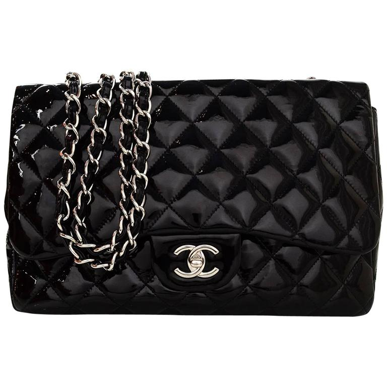 5917737cee82 Chanel Black Quilted Patent Single Flap Jumbo Classic Flap Bag For Sale