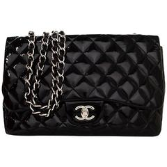 Chanel Black Quilted Patent Single Flap Jumbo Classic Flap Bag