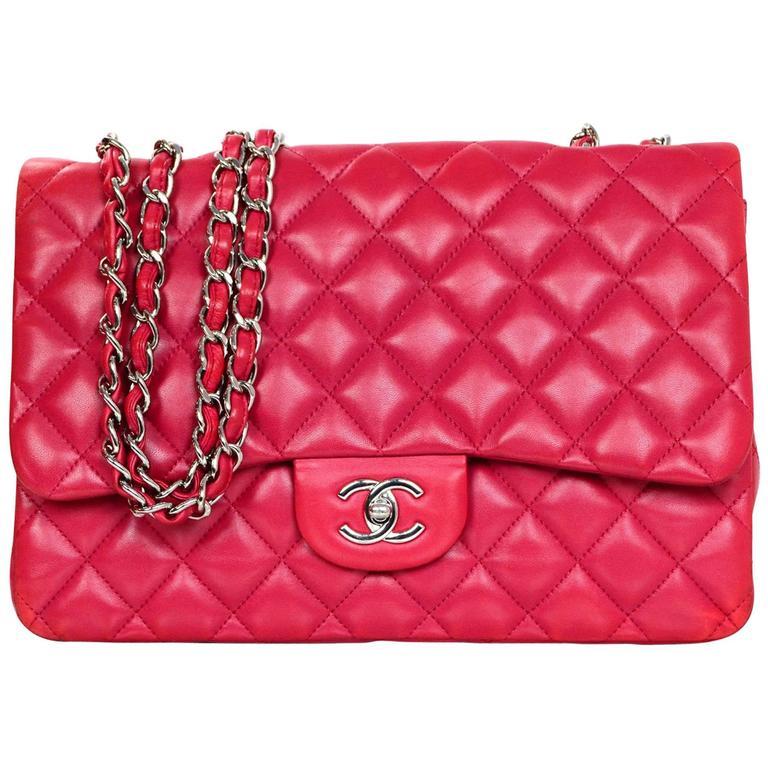 d0cd32423251 Chanel Raspberry Lambskin Jumbo Classic Flap Bag For Sale at 1stdibs