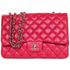 Chanel Raspberry Lambskin Jumbo Classic Flap Bag