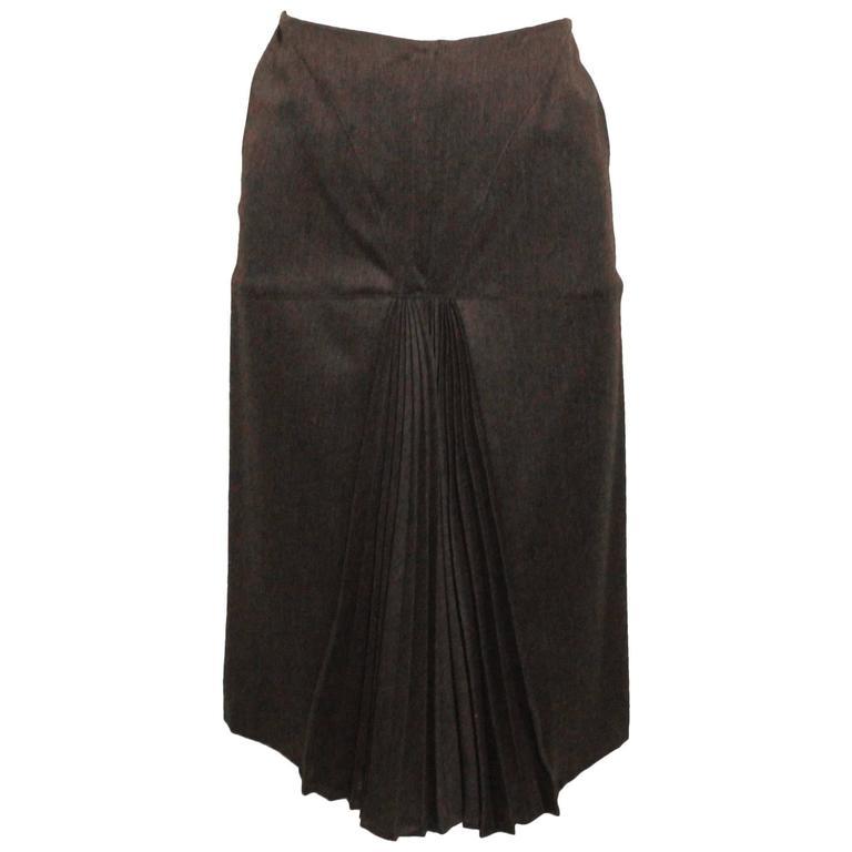 Vintage 1980s Claude Montana Front Kick Pleat Skirt
