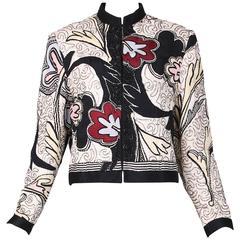 Michaele Vollbracht Silk Beaded Abstract Print Jacket