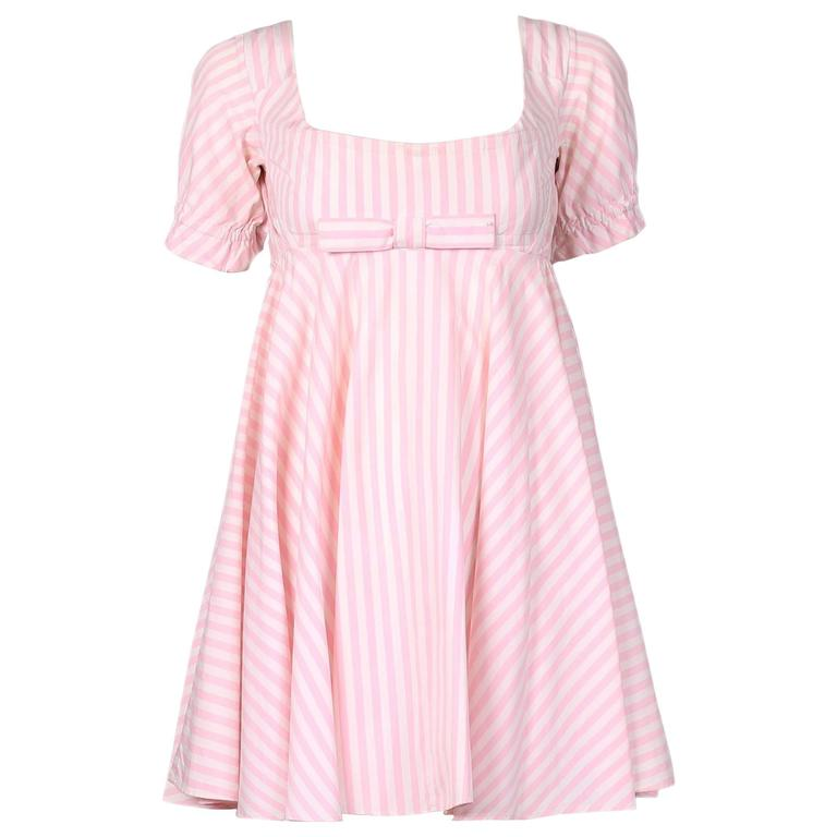 Vivienne Westwood Pink & White Striped Bustier Babydoll Dress Ca. 1992 1