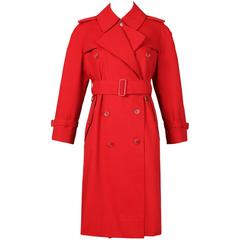 Classic Burberry Red Mid-Length Trench Coat