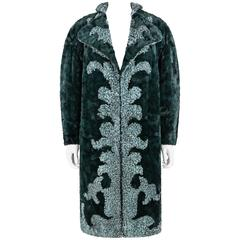 FENDI c.1980's KARL LAGERFELD Chinchilla Astrakhan Lamb Fur Reversible Coat