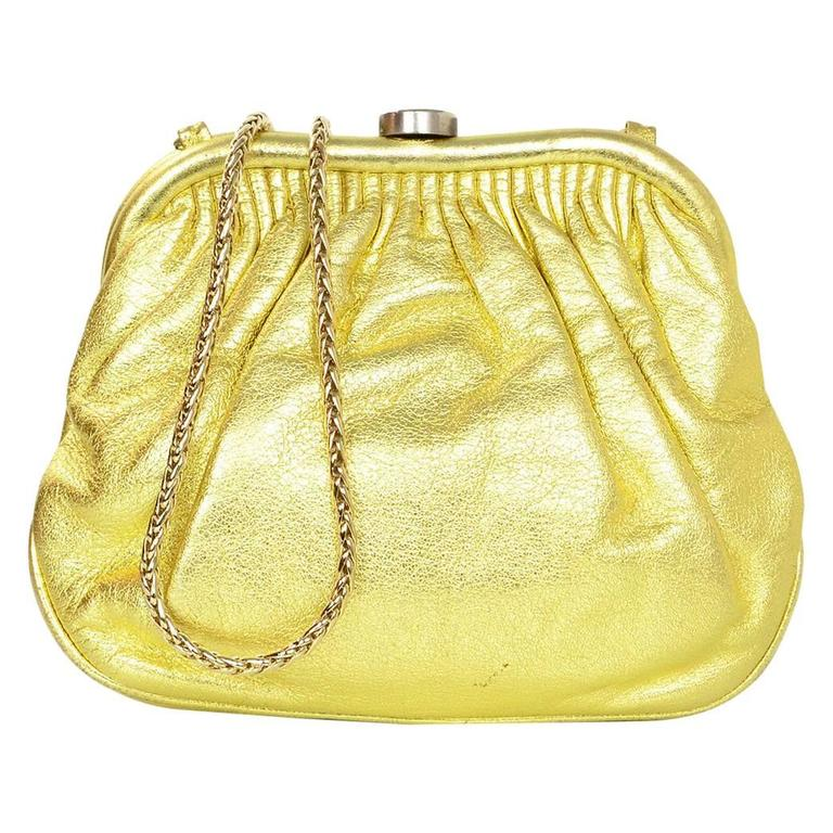 Chanel Metallic Gold Leather Mini Evening Bag GHW For Sale