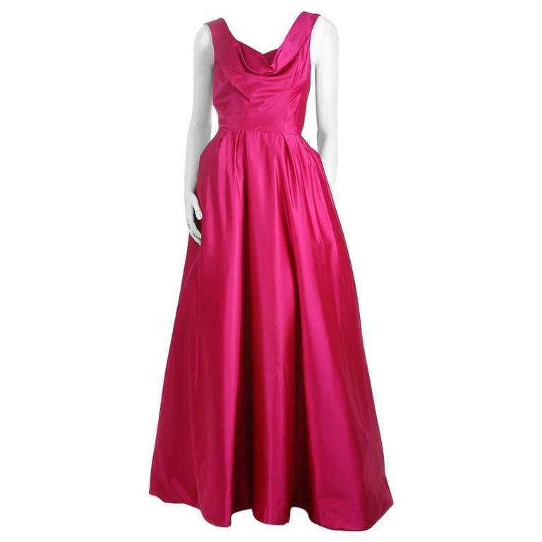 Ceil Chapman Full Skirt Satin Ballgown c. 1950s