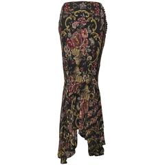 John Galliano Semi-sheer Floral Trumpet Skirt (New With Tags)