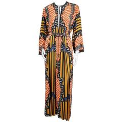 Galanos Art Deco Printed Dress circa 1970s