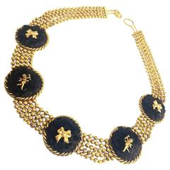 Vintage Karl Lagerfeld golden ball chain belt, necklace with extra large motifs.