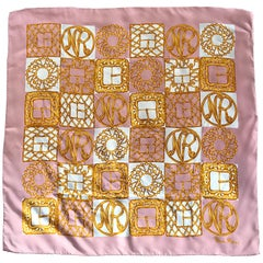 1970s Nina Ricci Couture Pink and Gold Trompe L'Oeil Silk Oversized Scarf Shawl