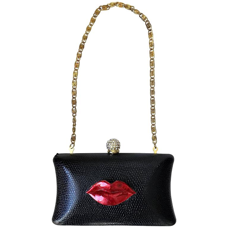 Rare Iris Lane Vintage 90s Black Red Lips Lizard Minaudière Convertible Clutch  For Sale