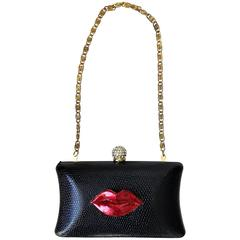 Rare Iris Lane Vintage 90s Black Red Lips Lizard Minaudière Convertible Clutch